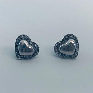 Sterling Silver .925 Heart Crystal earrings